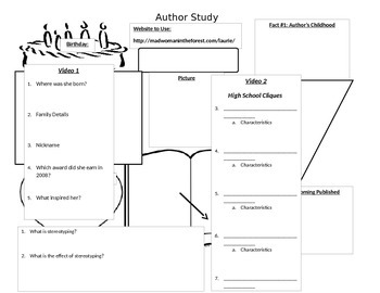 Laurie Halse Anderson Background Worksheet and Video Worksheet