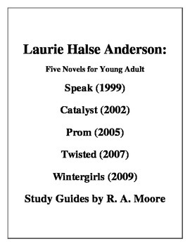 """""""Speak"""" etc.  Novels for Young Adults -Laurie Halse Anderson: Five Study Guides"""