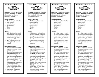 Laurie Halse Anderson's Speak Guided Reading Bookmark