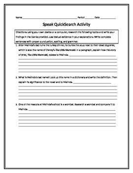 Laurie Halse Anderson's Speak Research Activity