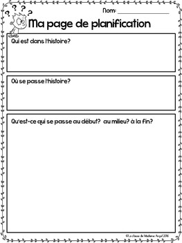 L'automne:  Fall (Autumn) Themed Cartoon Writing Prompts in French