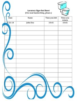 Lavatory Sign-out Sheet