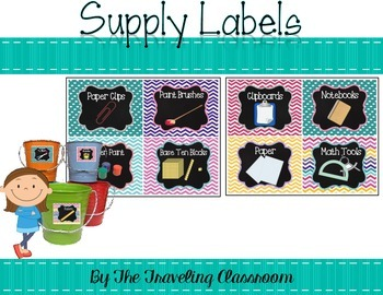 Editable Labels {Chalkboard Chevron Polka Dots}