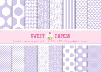 Lavendar Polkadots, Damask and Stripes Digital Paper Pack - by Sweet Papers