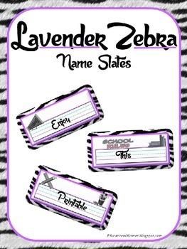 Lavendar Zebra Name Slates