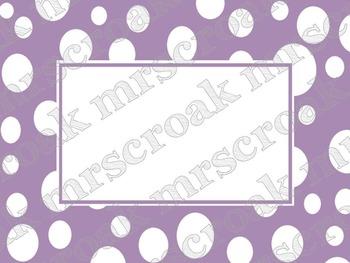 Labels: Lavendar polka dots, 10 per page
