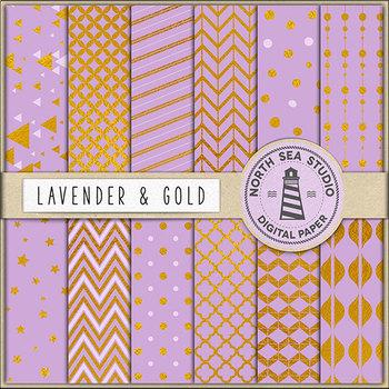 Lavender And Gold Paper, Gold Patterns, Violet Backgrounds