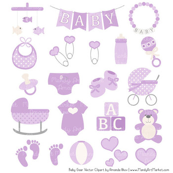 Oh Baby Clipart & Vectors Set in Lavender