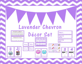 Lavender Chevron Classroom Decor Set