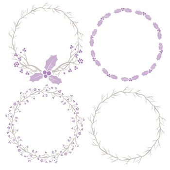 Lavender Christmas Holly Clipart