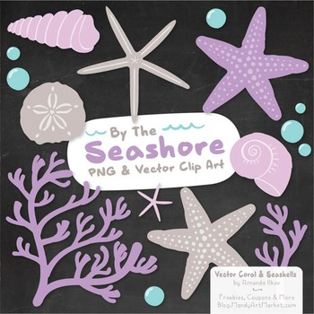 Lavender Coral & Seashells Clipart