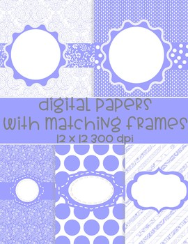 Lavender Digital Papers with Matching Frames - 5 designs and 5 frames