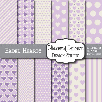 Lavender Faded Heart Digital Paper 1311