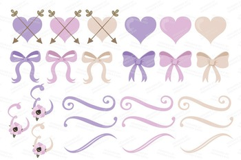 Lavender Floral Bicycle Vectors - Flower Clipart, Peonies Clip Art, Poppies