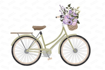 Lavender Floral Bicycle Vectors - Flower Clipart, Peonies Clip Art, Poppies