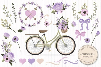 Lavender Floral Bicycle Vectors - Flower Clipart, Peonies
