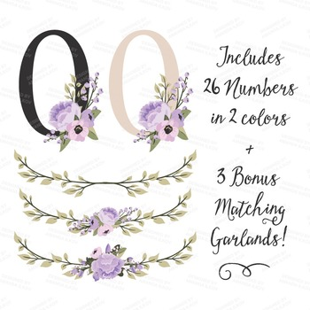 Lavender Floral Numbers With Vectors - Flower Clip Art, Peonies Clipart, Poppies