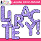 Lavender Glitter Alphabet Clip Art {Great for Classroom Decor & Resources}