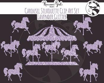 Lavender Glitter Carousel Silhouette Clipart Set