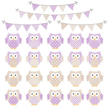 Lavender & Grey Owl Vectors & Papers - Baby Owl Clipart, Owl Clip Art, Baby Owls