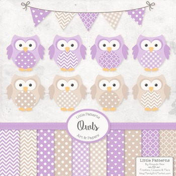 Lavender & Grey Owl Vectors & Papers - Baby Owl Clipart, O