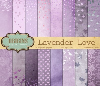 Lavender Love Backgrounds purple valentine digital paper