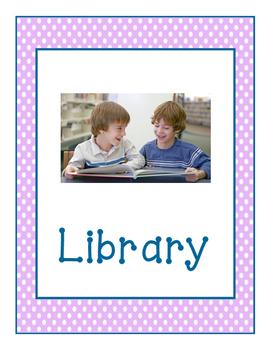 Lavender Polka Dot Learning Center Signs