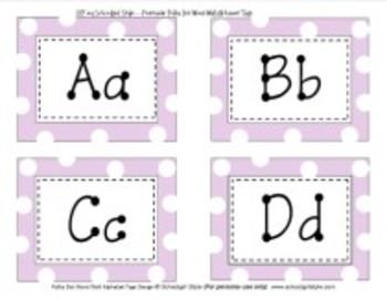 Word Wall Lavender Polka Dot Alphabet Tags Classroom Decor