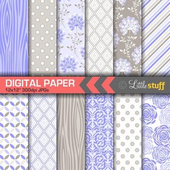 Lavender Purple Digital Paper, Pretty Periwinkle Patterns