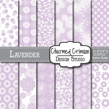 Lavender Purple Floral Digital Paper 1452