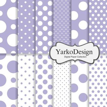 Lavender Purple Polka Dot Digital Scrapbooking Paper Set, 12 Digital Papers