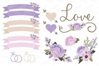 Lavender Purple Wedding Floral Clipart & Vectors - Flower Clip Art, Banners