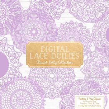 Lavender Round Lace Doilies - Lace Doily, Vintage Doilies