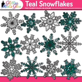 Teal Snowflake Clip Art: Winter Weather Graphics {Glitter Meets Glue}