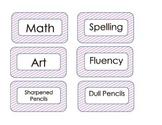 Lavender Stripe Classroom Labels