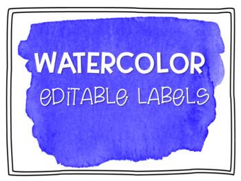 Lavender Watercolor Editable Labels