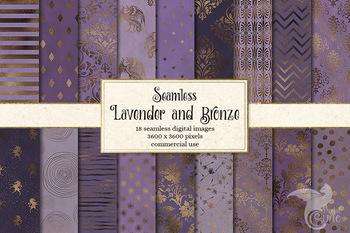 Lavender and Bronze Digital Paper Patterns