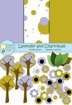 Lavender and Chartreuse Mini Clipart Set