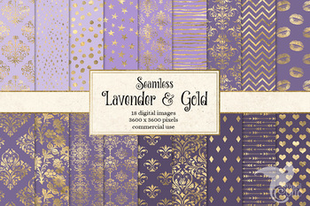 Lavender and Gold Digital Paper, seamless purple and gold foil patterns