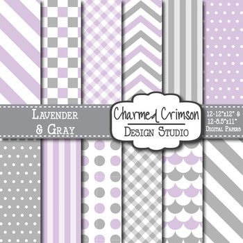 Lavender and Gray Digital Paper 1178