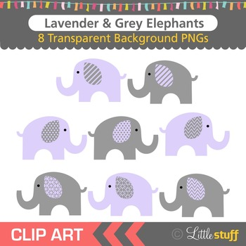 Lavender and Grey Elephant Clipart, Purple & Gray Elephant Clip Art
