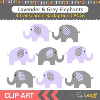 Lavender and Grey Elephant Clipart, Purple & Gray Elephant Clip Art