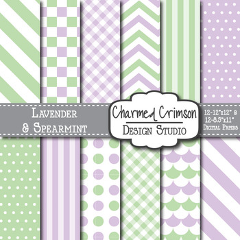 Lavender and Mint Green Chevron and Dot Digital Paper 1158