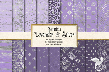 Lavender and Silver Digital Paper, silver foil and purple seamless patterns