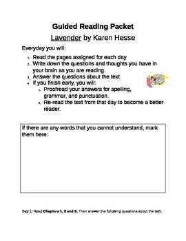 Lavender by Karen Hesse Guided Reading Packet