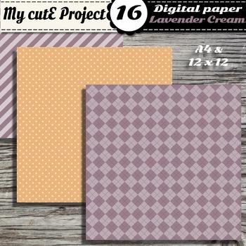 """Lavender & cream DIGITAL PAPER - Scrapbooking- A4 & 12x12"""" - Stripes..."""