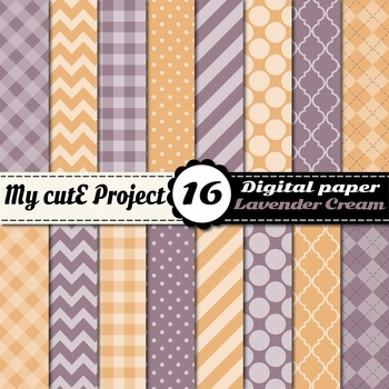 Lavender & cream DIGITAL PAPER - Scrapbooking- A4 & 12x12""