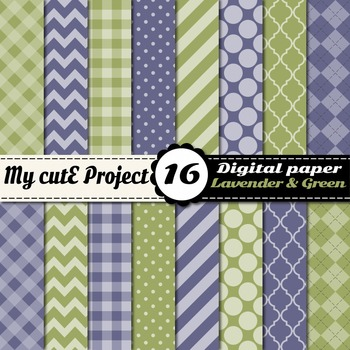 "Lavender & green DIGITAL PAPER - Scrapbooking- A4 & 12x12"" - Stripes..."