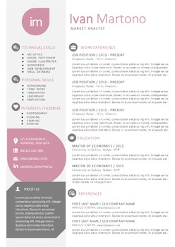 Lavender tear drops Word resume and cover letter templates