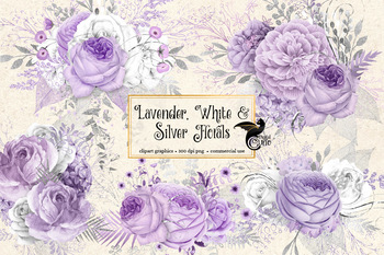 Lavender, white and silver floral clipart, rustic wedding watercolor flowers